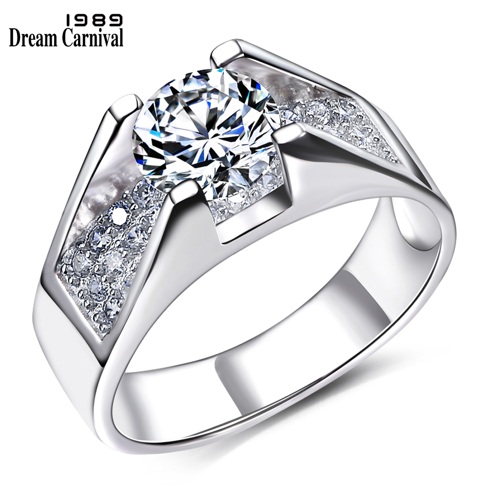 DreamCarnival 1989 New Wedding Party White Cubic Zircon Jewelry Design Silver Ring for Women Girl Friend Anillos Mujer SJ22568