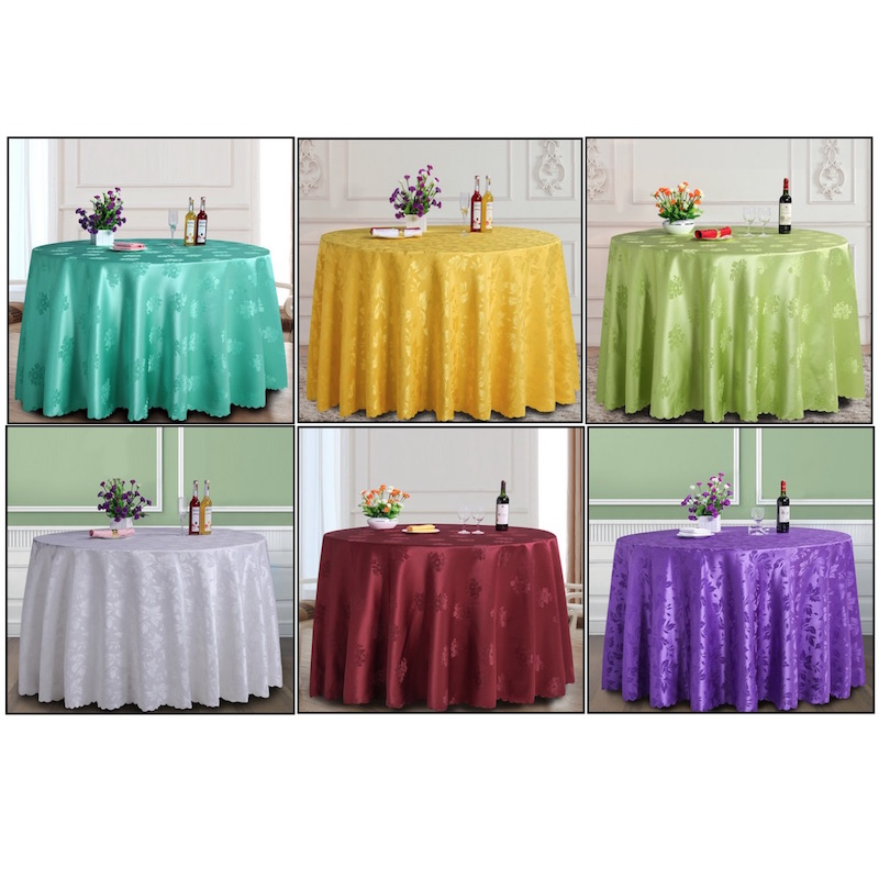 Rectangle Tablecloth Hotel Wedding Party Banquet Dinning Table Cover Spread Jacquard Solid Green White Yellow Purple Burgundy