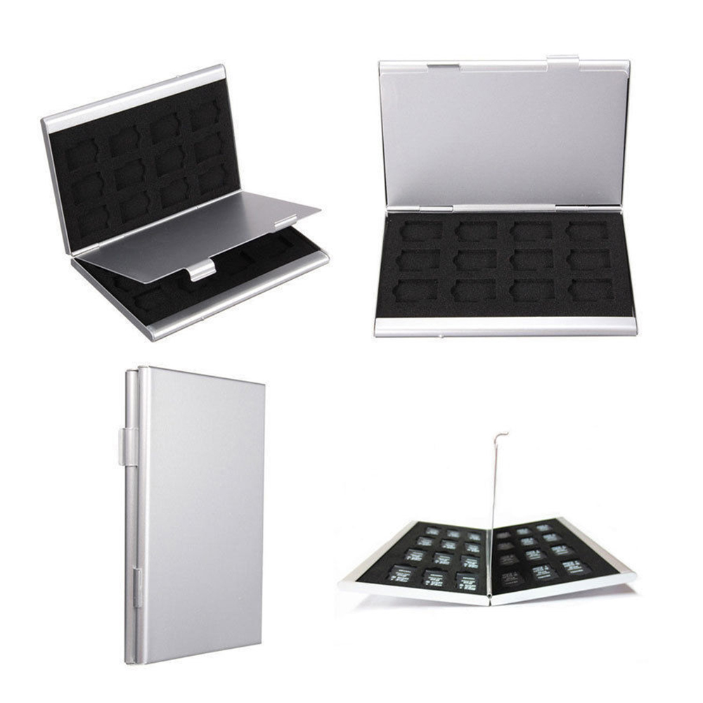New Modern Style 24TF Card Box Holders Sliver Aluminum For Micro SD Memory Card Memory Card Storage Case