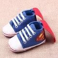 2017 Весной Детская Обувь Новорожденных Девочек Мальчиков Малыша Обувь Холст супермен Мягкой Подошвой Baby Girl Обувь Первые Ходунки 0-1 Лет старый