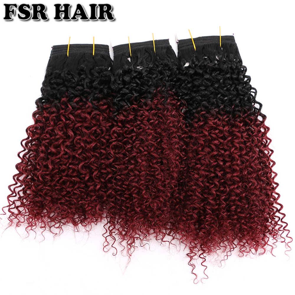 FSR черные до бордовые афро кудрявые вьющиеся волосы плетение 8-20 дюймов 100 г Омбре синтетические волосы для наращивания