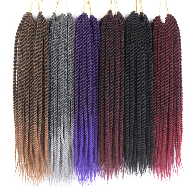 "TOMO 12"" 14"" 16"" 18"" 20"" 22""  22Roots/Pack Kanekalon Senegal Twist Crotchet Braids Hair Extensions Synthetic Ombre Braiding Hair"