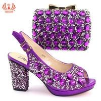 2019 New Fashion Women Purple Shoes Italian Shoe and Bag Set for Party In Women Shoe and Bag Set for Wedding Nigerian Women Pump