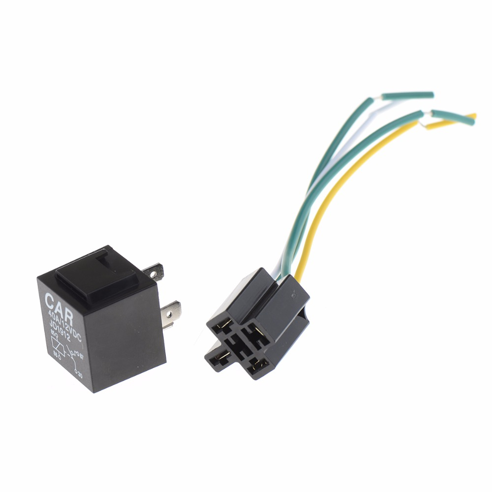 1pc 12v 12volt 40a Auto Automotive Relay Socket 40 Amp 4 Pin Relay & Wires(