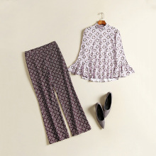 European American Style Women's Runway Vintage Twin Set Flare Sleeve Blouse Long Trousers Printed Fashion 2 Pieces Pants Set