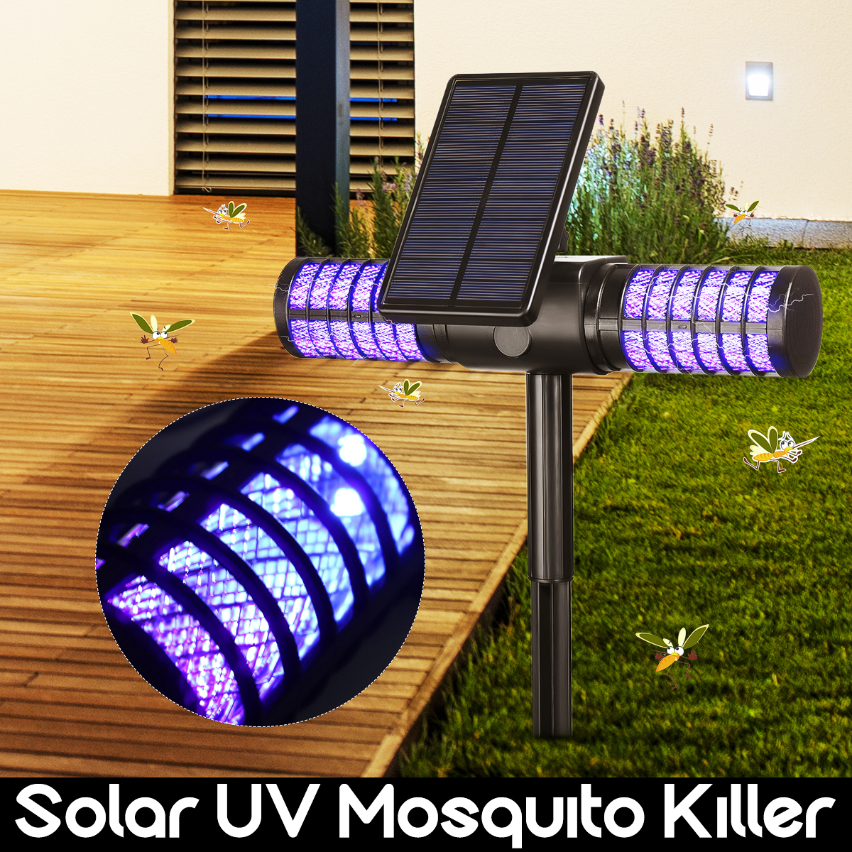 Led Solar Mosquito Killer LIght IP65 Waterproof USB Mosquito Insect Trap Lamp Automatic UV Bug Zapper Wall Light цены онлайн