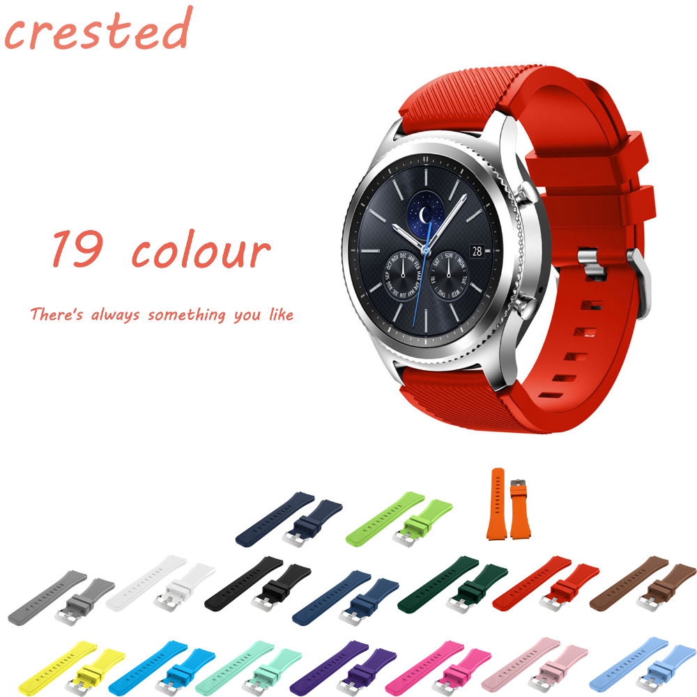 CRESTED Sports Silicone strap band for Samsung Gear S3 Frontier/Classic smart watch wrist bracelet & 22mm replacement watch band sony ericsson s500i купить волгоград