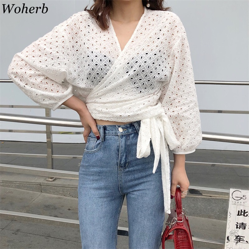 Woherb Sexy Hollow Out Mesh Top Blouse Women 2019 Summer Sexy Crossed Bandage Shirt Korean Crop Tops Perspective Blusas 21399 Cheap Sales 50% Blouses & Shirts