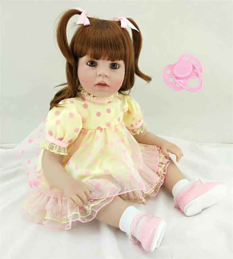 60 cm Silicone Reborn Bébé Poupée Jouets Princesse Bébés Vinyl Enfant Poupées Enfant Cadeau D'anniversaire De Noël Cadeaux Filles Brinquedos