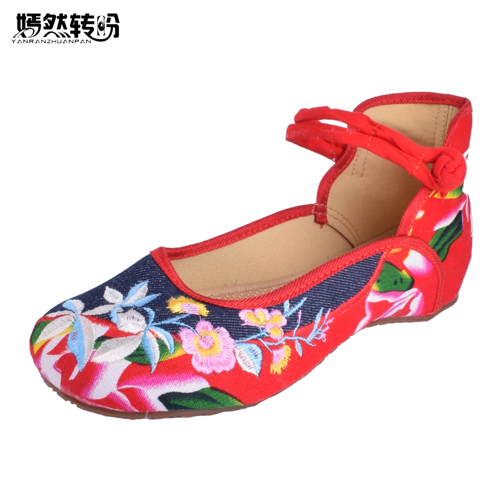 Vintage Women Flats Shoes Old Beijing Mary Jane Flats Casual Jeans Chinese Embroidered Cloth Denim Shoes For Woman Plus Size 43 vintage women pumps flowers embroidered ankle buckles canvas platforms ladies soft casual old beijing shoes zapatos mujer