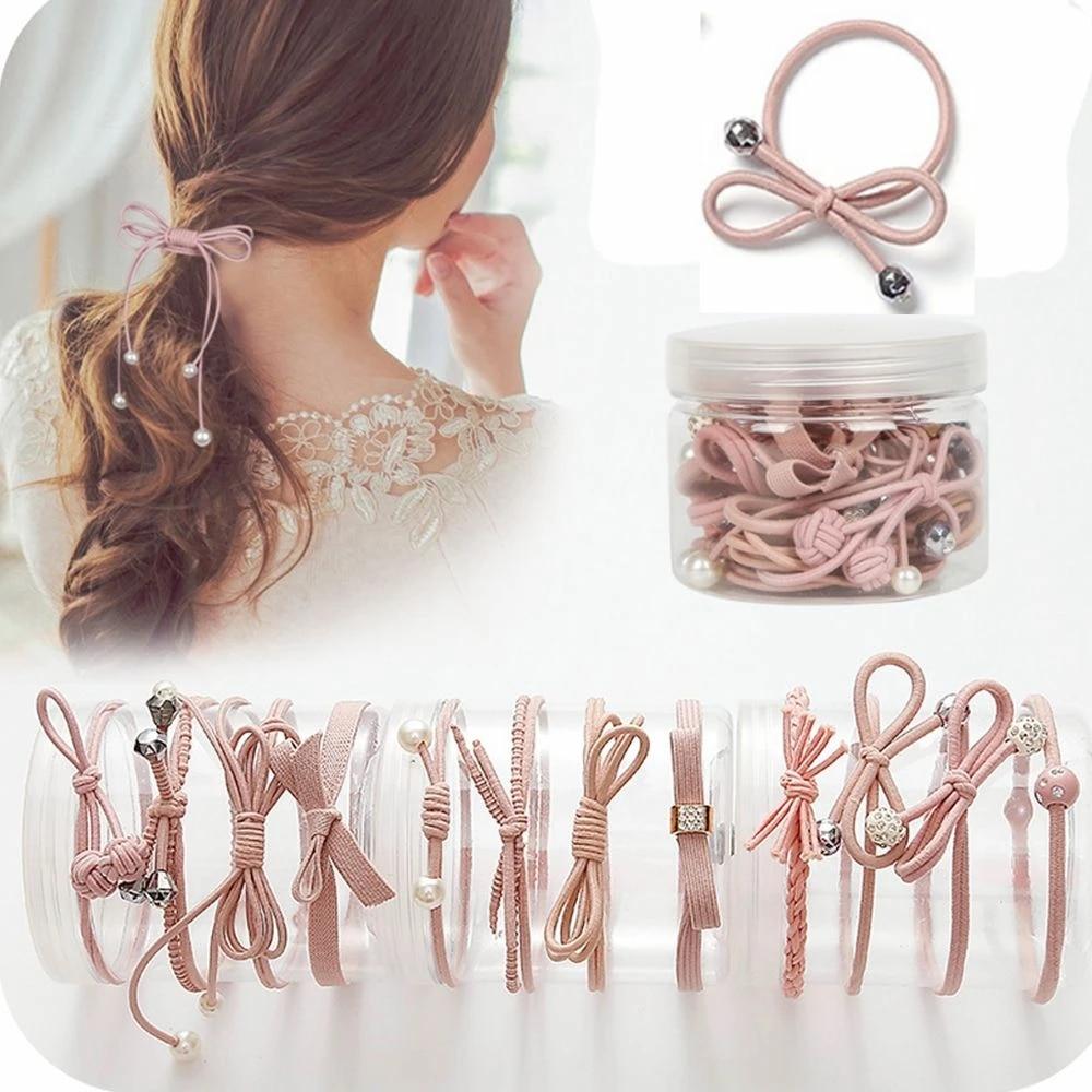 12 Pcs Pack Fashion Women Hair Accessories Pink Elastic Hair Bands Girls Bow Pearl Hairband Hair Rope Gum Rubber Band Women S Hair Accessories Aliexpress