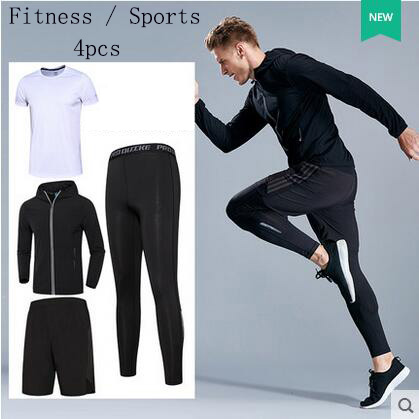 New 4 Pieces Mens Sports Suits Running Clothes For Men Short Compression Tights Gym Fitness T Shirt Cropped Pants Quick Dry Sets 2016 boys running pants soccer trainning basketball sports fitness kids thermal bodybuilding gym compression tights shirt suits page 1