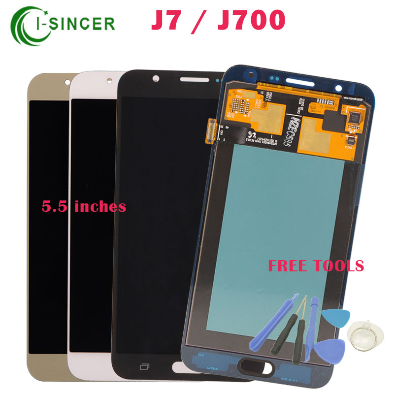 ФОТО Grey White Gold 5.5 inch For Samsung For Galaxy J7 LCD Display J700F J700 Screen + Touch Digitizer Assembly +Tools free shipping