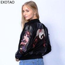 Exotao Вышивка кожаная куртка для женская обувь на застежке-молнии с длинным рукавом в стиле панк Chaqueta Mujer Черный улица ПУ Повседневное Fit пиджаки короткие