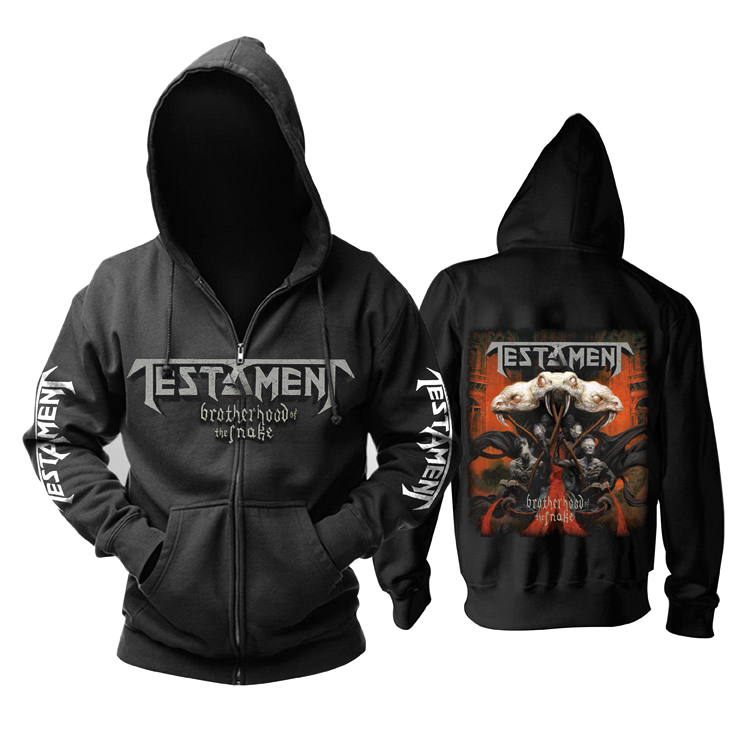 Zipper Sweatshirt Nice soft and warm Snake Testament Rock black hoodies autumn winter jacket punk death dark metal sudadera