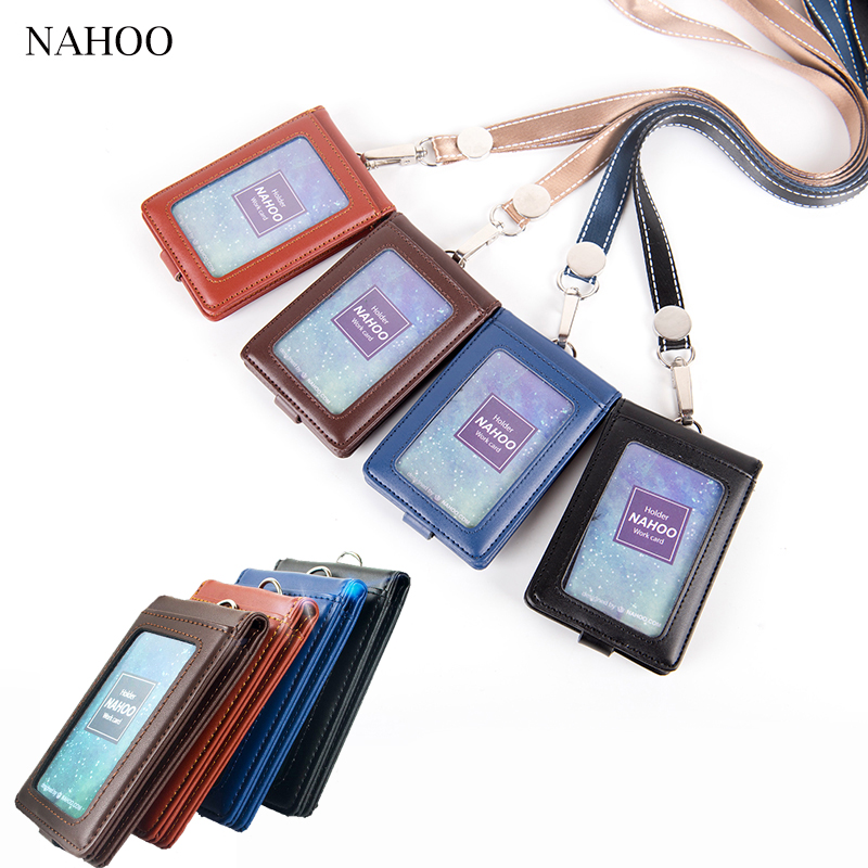 Nahoo Genuine Leather Badge Holder Nurse Unisex Lanyard Credit Id Card Holder Office Card Neck Strap Working Badge With Lanyard 6pcs lot acrylic cartoon nurse retractable badge reel id name tag card badge holder reels 2018 new doctor nurse supplies