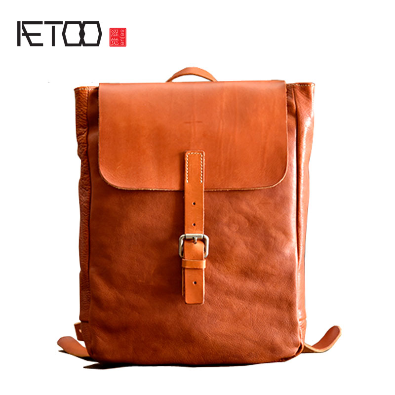 AETOO New original vegetable tanned leather backpack handmade first layer leather British retro shoulder bag art men and women aetoo leather men bag new retro first layer of leather handbag large capacity vegetable tanned leather shoulder bag
