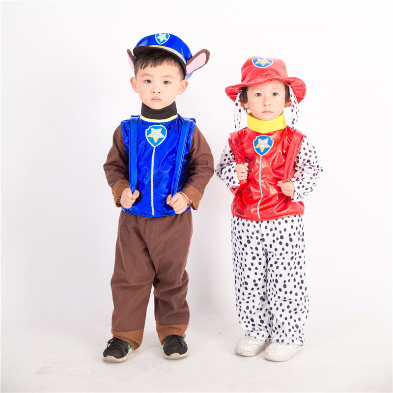 Halloween Party Cartoon Kids Patrol Dog Cosplay Costume Mascot Skye Chase Marshall Cosplay Costume Full Set Top+Pants Hat