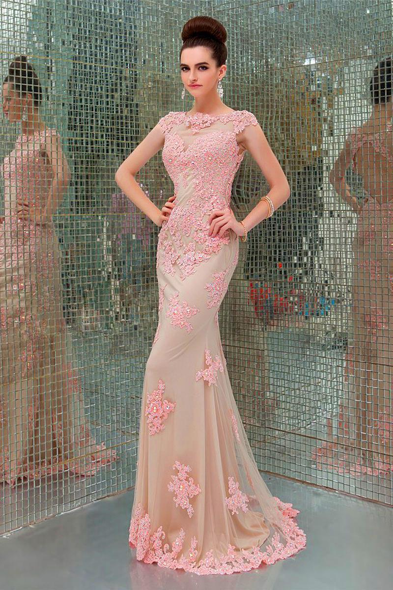 Ebay vestidos noche largos apliques piso longitud de la sirena Cap ...