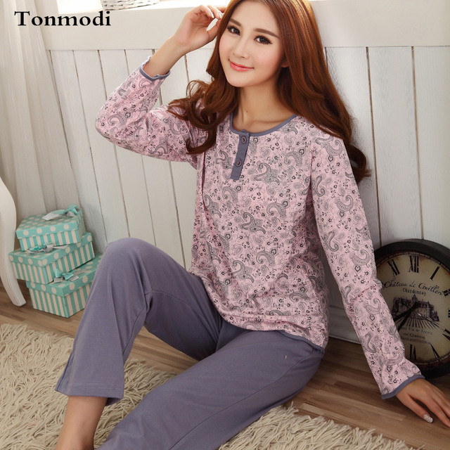 Pijama Femme Outono Pijama de Algodão de Manga Longa Sleepwear Mulheres salão Pullover Pijama Definir Plus Size 3XL
