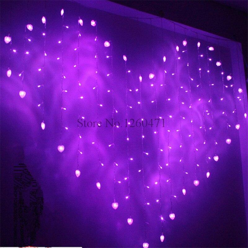 2016 хорошее качество 2 м x 1,5 м сердце Форма 124 сердца светодиодный строка праздник света новогоднее Свадебные украшения Шторы огни ...