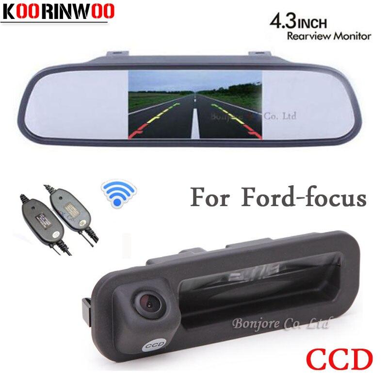 Koorinwoo Parking 4.3 voiture moniteur miroir vidéo voiture vue arrière caméra poignée coffre porte bouton pour Ford/focus 2 3 berline à hayon