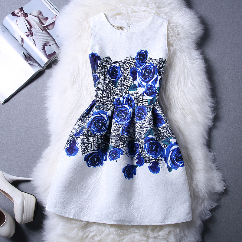 Hot !High-Quality Toddler Girl Narmal Dress All Kinds Of Flower Patten A-Line Dress For Children Girls Costume 6-12 Years Old