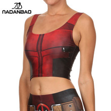 NADANBAO NEW ARRIVAL Crop Top Comic Pattern Women Camis Deadpool Print tank tops Colorful sleeveless Tee