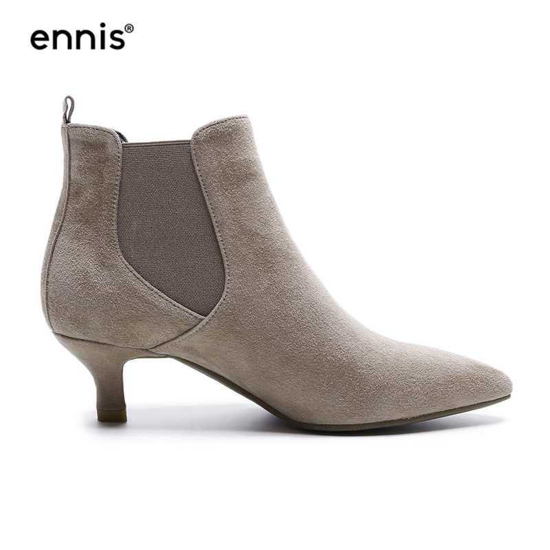 ENNIS 2018 European New Design Suede Women Shoes Pointed Toe Elegant Female Ankle Boots Little Heel