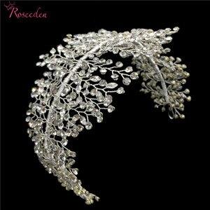 Image 3 - El yapımı kristal Rhinestones Tiaras ve taçlar düğün kafa bandı başlığı gelin saç parçası balo Pageant aksesuarları RE3169
