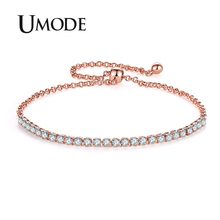 UMODE 6 Colors Fashion Womens Tennis Bracelets Zirconia Link Chain Rose Gold Color Bangles Female Trendy Girls Jewelry UB0128(China)
