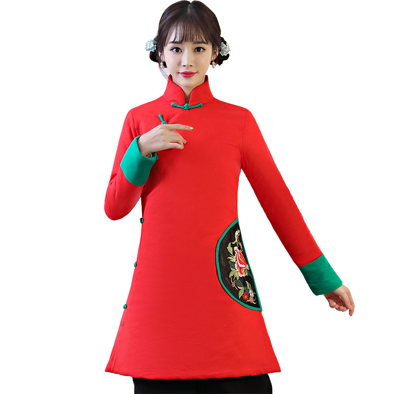 076b2740b New Red Female Cotton-Padded Jacket Coat 2018 Winter Embroidery Floral Long  Outwear Chinese Ethnic Thick Blouse S-XXL