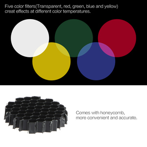 Image 4 - Metal Conical Snoot with Honeycomb Grid 5pcs Color Filter Kit for Bowens Mount Studio Strobe Monolight Photography Flash