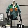 [Alphalmoda] Nuevo Llegado Elegante Coreano Mujeres Camisetas Turn-down Collar Lentejuelas Piña Rayas Verticales de manga larga blusas