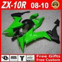 Высокое качество ABS обтекатель комплект для Kawasaki 06 07 ZX 10R обтекателя kit зеленый черный мотоцикл обтекатели 2006 2007 ninja ZX10R