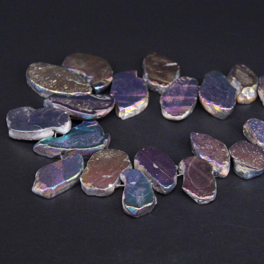 Approx26PCS/strand Top Drilled Rainbow Blue Titanium Raw Agates Slab Slice Beads,Gems Stone Nugget Pendants Jewelry Making