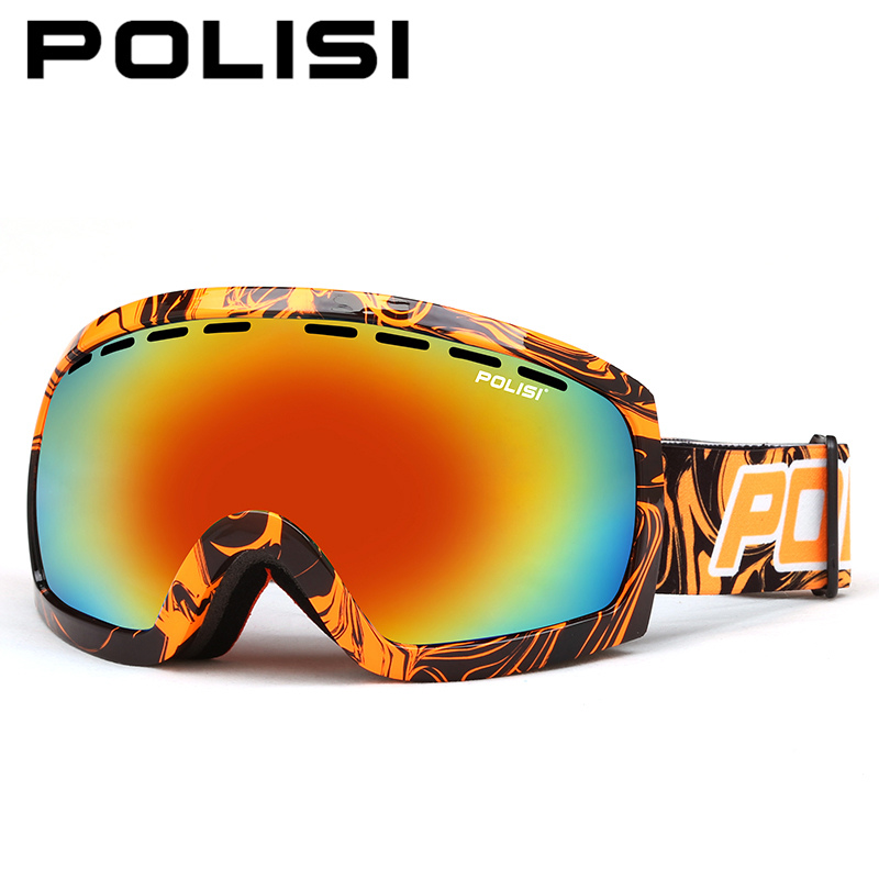 POLISI Winter Men Women Snowboard Skate Ski Goggles UV400 Skiing Snow Glasses Double Layer Anti-Fog Lens Snowmobile Eyewear цена 2016