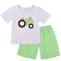 In Stock Baby Boy Summer Clothes Cute Embroidery Truck Top With Green Shorts Set Baby Summer