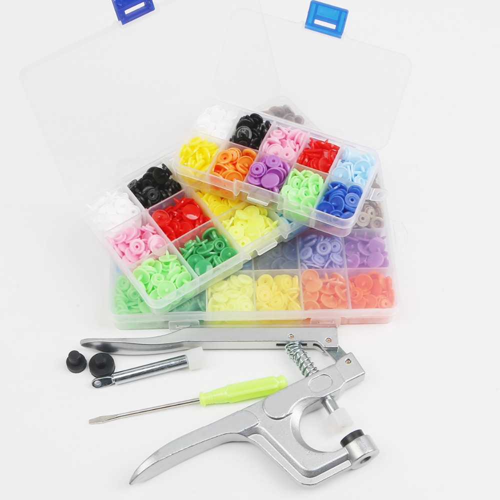 DIY Clothes T5 Plastic Fasteners 240set Snap Resin Button Press Stud Cloth Tool Hand Pressure Pliers Kit With Box Tools
