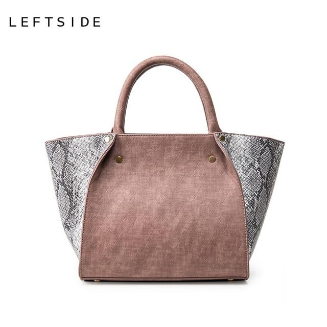 LEFTSIDE New 2017 Winter Trapeze Handbag PU Leather Tote Handbags Women's Serpentine Shoulder Bags Ladies Big Crossbody Bags