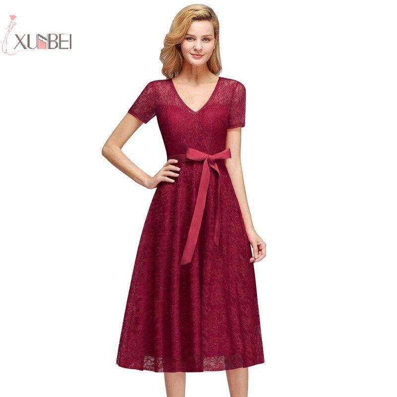 2019 Sexy Burgundy Lace Short robe   Cocktail     Dresses   Plus Size V Neck Party   Dress   vestidos coctel robe de   cocktail