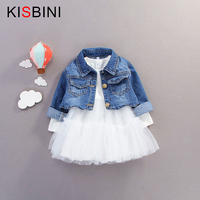 KISBINI Spring Autumn Baby Girls Jeans Coat Jacket+Long Sleeve Tutu Dress 2pcs/Sets Denim jacket Outfit Kids Fashion Dress