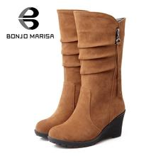 BONJOMARISA Big size 34-43 quality hot fall winter shoes women mid calf wedge shoe woman slip on PU leather pleated riding boots