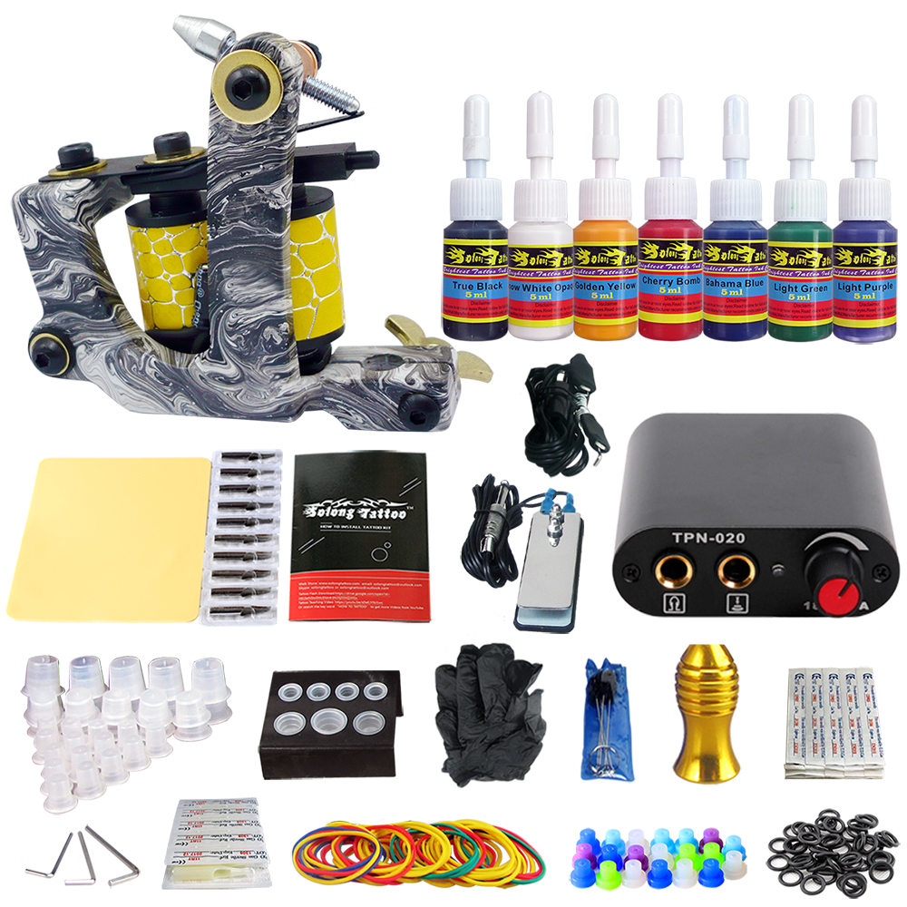 Stigma Tattoo Complete Kit 1 Machine  for Beginer 7 Inks TK105-14Stigma Tattoo Complete Kit 1 Machine  for Beginer 7 Inks TK105-14