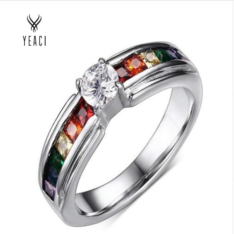 Partai Penjualan Panas Penjualan Langsung Perhiasan Womens Cz Rings Untuk Rainbow Cincin Perhiasan Set Pengantin Mode PR-008