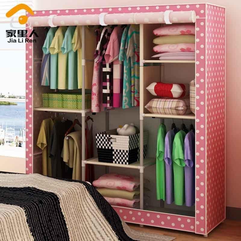 Nice Promotional Price Fashion Simple Cloth Wardrobe Closet Wardrobe Combination  Folding Steel Curtain Roll Oversized Closet(