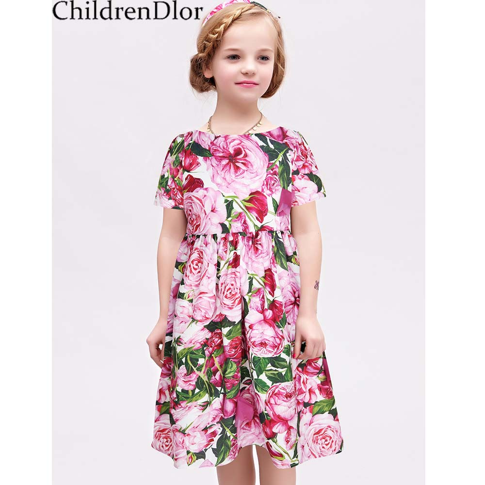 Princess Dress Children Costumes 2017 Summer Girls Cotton Rose Bianco Dress A-line Kids Dress Girl Clothes Disfraz Infantil girl dress kids clothes 2016 wl original lemon flower print a line baby girl dress children cotton princess dress girls costumes