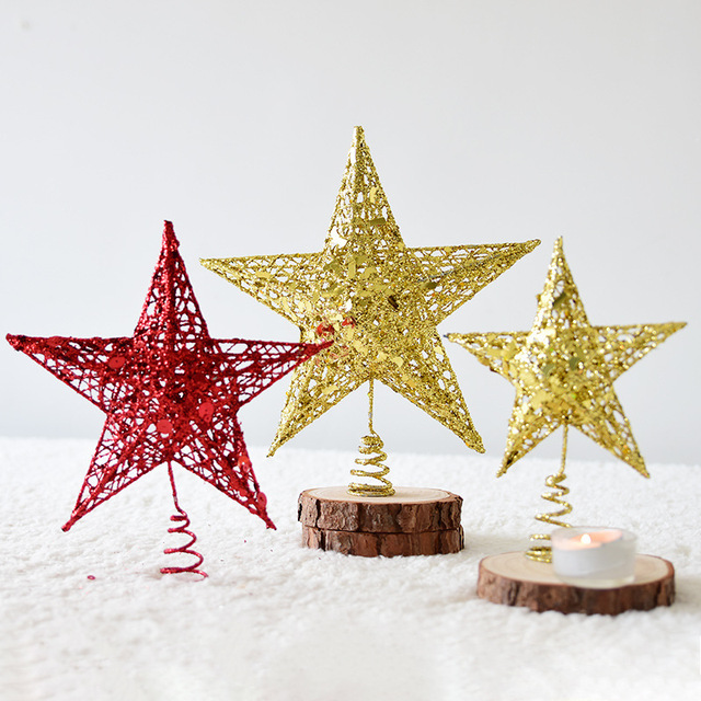 Us 2 88 25 Off Shining Christmas Tree Star Treetop Decoration Shimmery Xmas Tree Topper Glitter Powder For Christmas Tree Ornaments Supplies E In