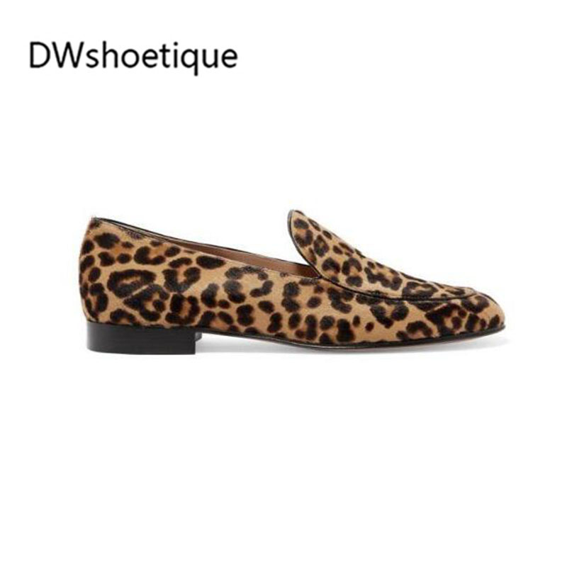 New Leopard Haircalf Women Loafers Genuine Leather Slip On Casua Flats