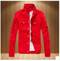 Men Casual Cowboy Jacket Hole Spring And Autumn Long Sleeved Denim Coats S 3Xl Male Leisure